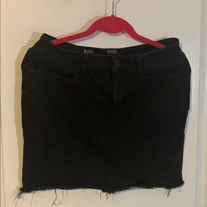 Black cut off mini skirt